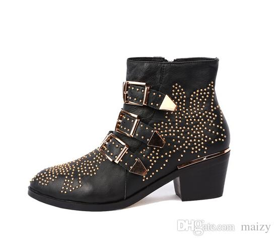 2017 fashion Europe Genuine Leather thick heels 4.5cm pointed toe women boots belt buckle rivets all-match winter short boots
