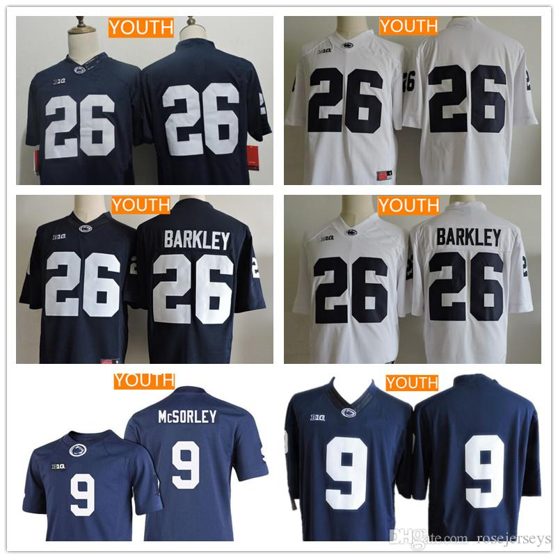 ... College Football Jersey Mens Penn State Nittany Youth Penn State  Nittany Lions Big 10 26 Saquon Barkley 9 Trace McSorley No Name Navy ... f20889598