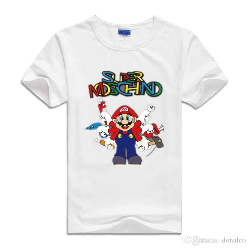 9fc62a252 Compre 2017 Niños Camisetas Infantiles Ropa De Dibujos Animados De Japón  Para Mario Hermanos Bebés Sudaderas Niños De Manga Corta Camisetas De  Algodón Niñas ...