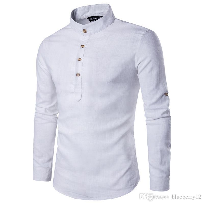 Camicie di lino casual solido Camicie di manica lunga uomo Camicie di cotone Camicia da uomo Plus Size Slim Fit Homme