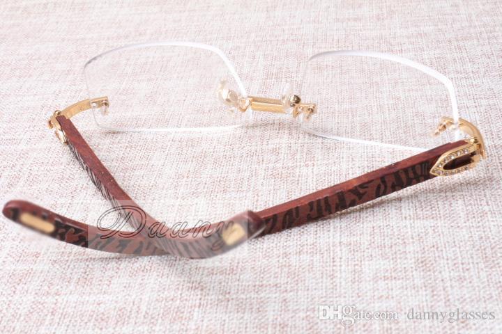 De nouveaux cadres carrés, sans cadre lentilles blanches T3524012, bandes en bois naturel, les jambes de miroir, cadres pour les hommes et les femmes, eyeglassessize: 56-18-140m