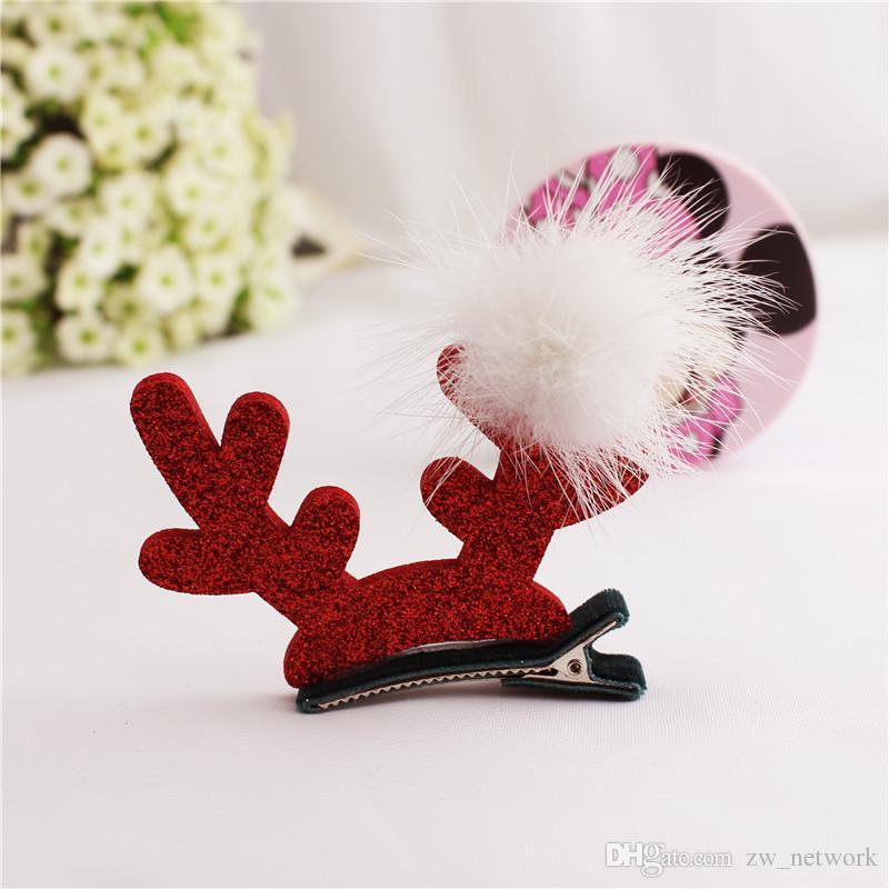 Cute Christmas Baby Kids Hair Clips Deer Hairpins Accessories BB Hair Ornaments Bows Hairclip Kids Gift