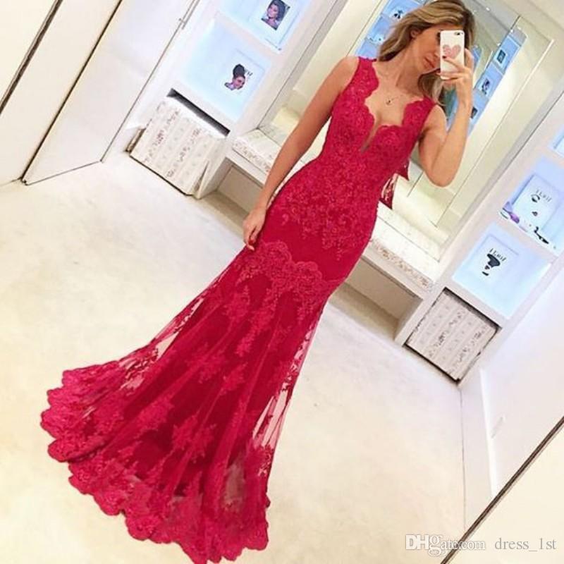 Modest 2016 Real Photos Robes De Sirène En Dentelle Rouge Soirée Wear Haute Qualité Pas Cher Applique Longue Robes De Soirée Formelles Sur Mesure EN12219