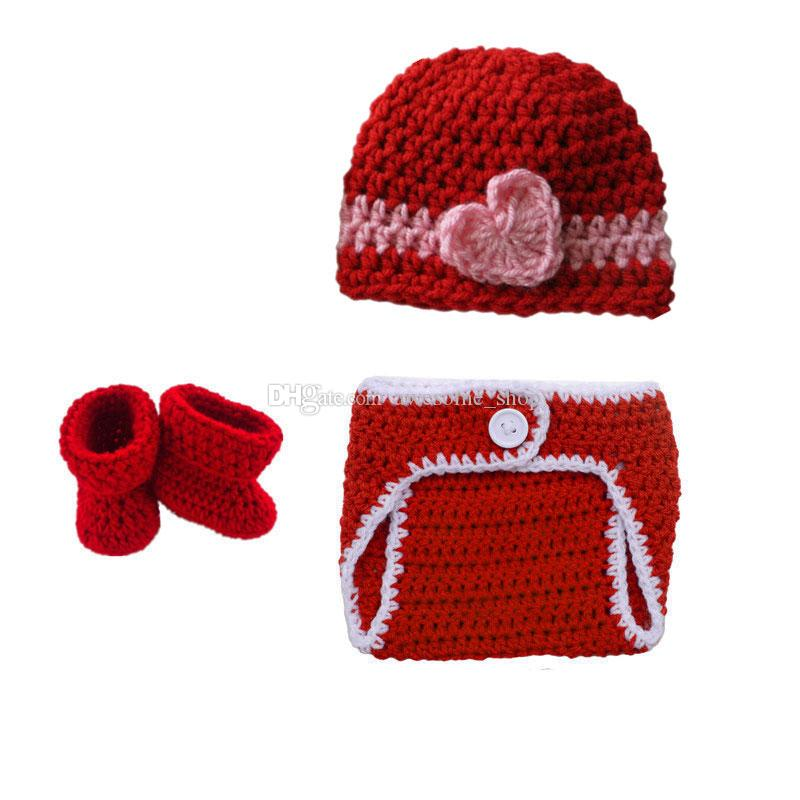 Crochet Valentine's Day Baby Costume,Handmade Knit Baby Boy Girl Red Striped Hat with Heart,Diaper Cover and Booties Set,Infant Photo Prop