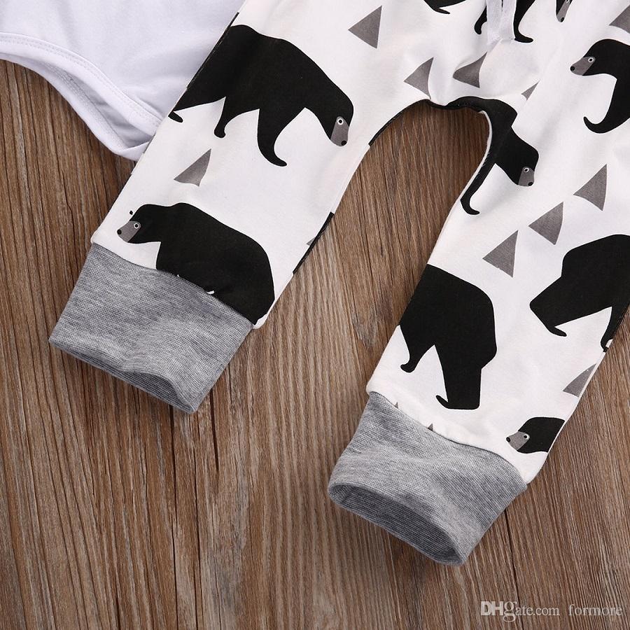 Roupa de Bebê recém-nascido Crianças Romper Terno Crianças Conjunto de Roupas Camisa de Manga Longa Encabeça Rompers Legging Harem Pants Urso Chapéu Branco Outfit