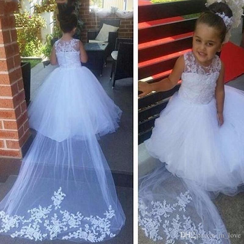 White Lace Flower Girl Dresses with Train
