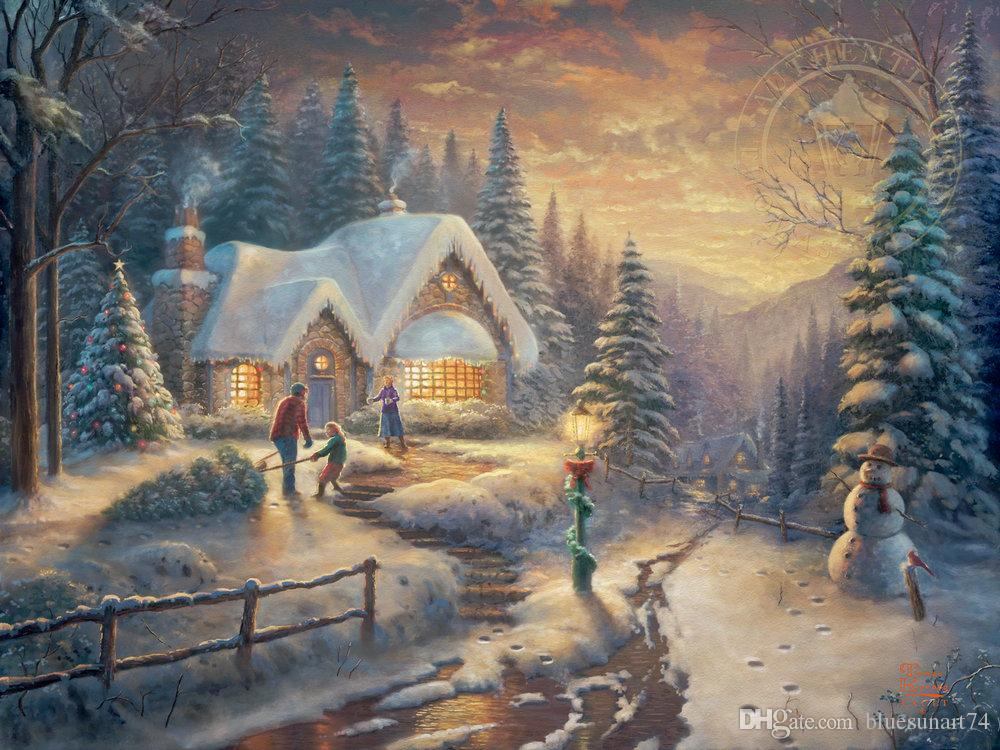 Thomas Kinkade Landscape Painting Reproduction High Quality Giclee HD Print on Canvas Modern Wall Art Decor Chrismas holiday Picture HYTMS62