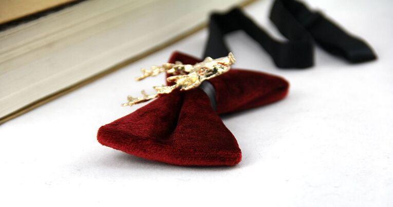 Santa Elk Bowtie Samt Bowknot 7 Farben Solide Fliege 12 * 6cm Party Jubiläumsgeschenk Valentinstag Vatertag Weihnachtsgeschenk