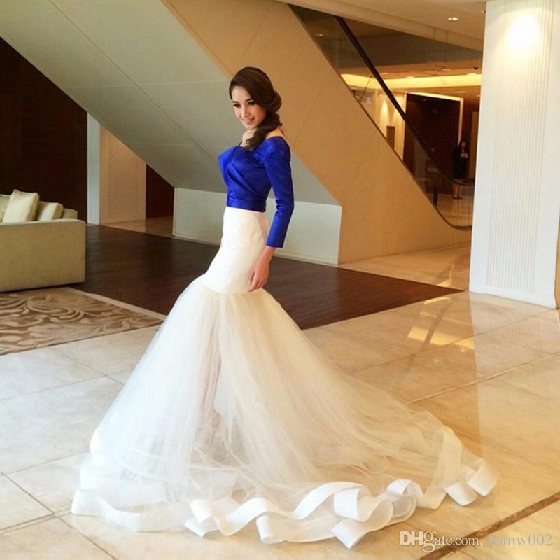 Saudi Arabia New Design Boat Neckline Mermaid Royal Bule and White Skirt Prom Dress Off the Shoulder Short Sleeves Evening Gowns