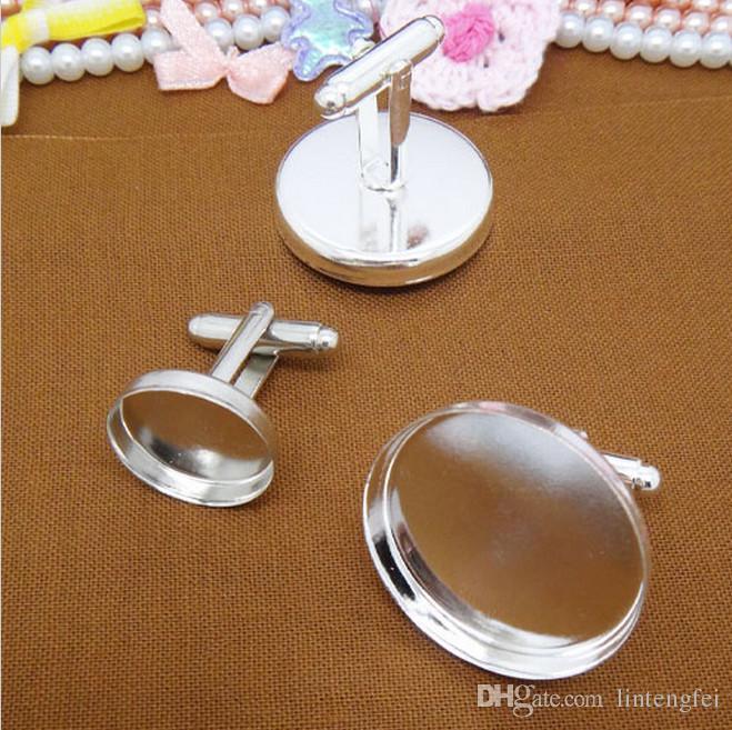 gros boutons de manchette français plaqué argent bijoux avec plateau de réglage lunette intérieure 12mm pour camées cabochons