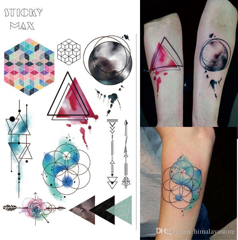 99312c28f2223 Significado De Tatuagens W08 Aquarela Tatuagem Mágica Geométrica Com  Triângulo