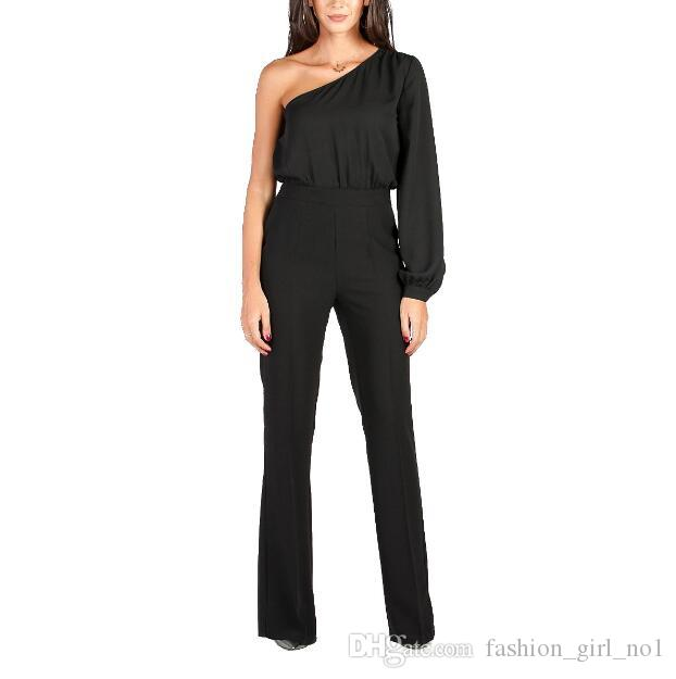 77d2737896b1 2019 Women Wide Leg Elegant Jumpsuits Black Jumps Embellish Cuffs Long Mesh Sleeves  Overalls Sexy Night Club Elegant SlimBody Suit From Fashion girl no1
