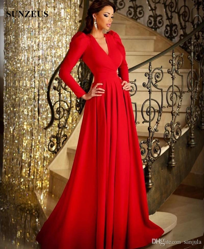 Fall Winter Long Sleeve Evening Gowns A Line V Neck Floor Length ...