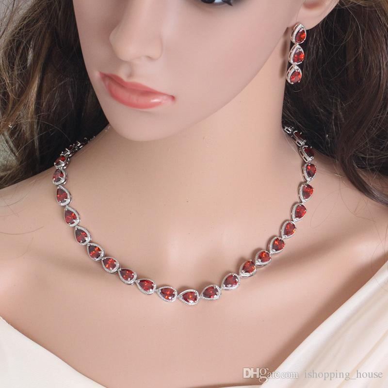 Luxury Princess Jewelry Set Europe and America Bride Earrings Necklace Set for Wedding with White Gold Plated Clear/Red/Yellow CZ LY-047