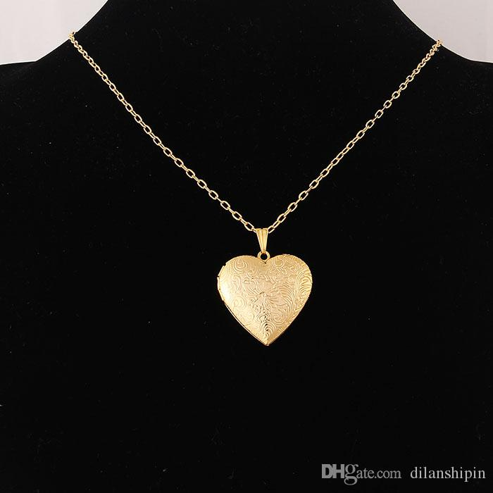 Wholesale Jewelry Heart Lockets Necklace Charm Necklace Real 18k gold plated Photo Locket Frame Pendant Necklace For women Girls lover gift