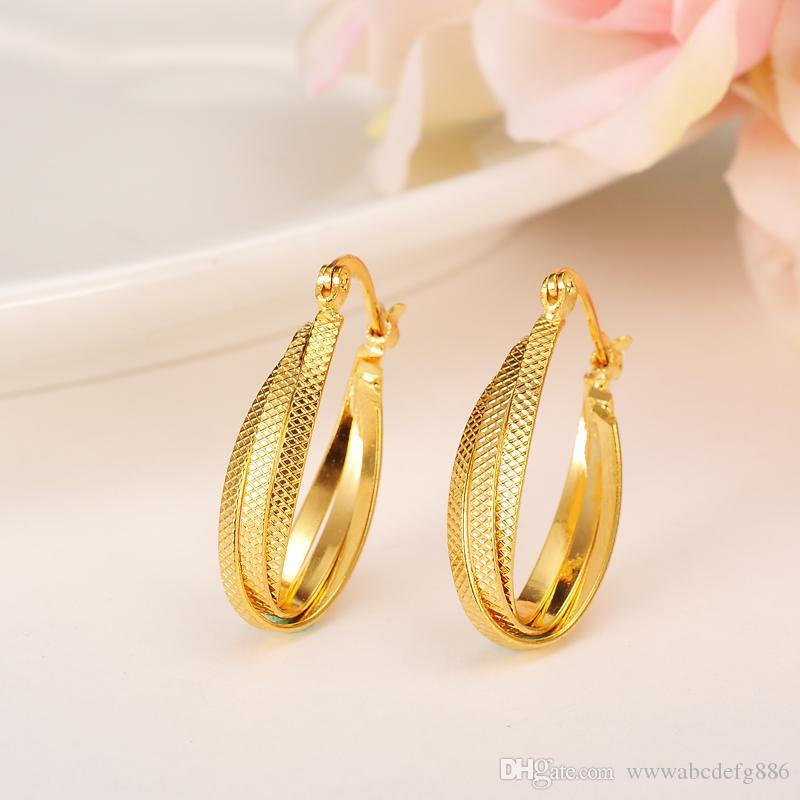 Boucles d'oreilles à la mode femmes 24K jaune solide or GF bijoux arabe Moyen-Orient Afrique indienne brésilienne bijoux Dubaï