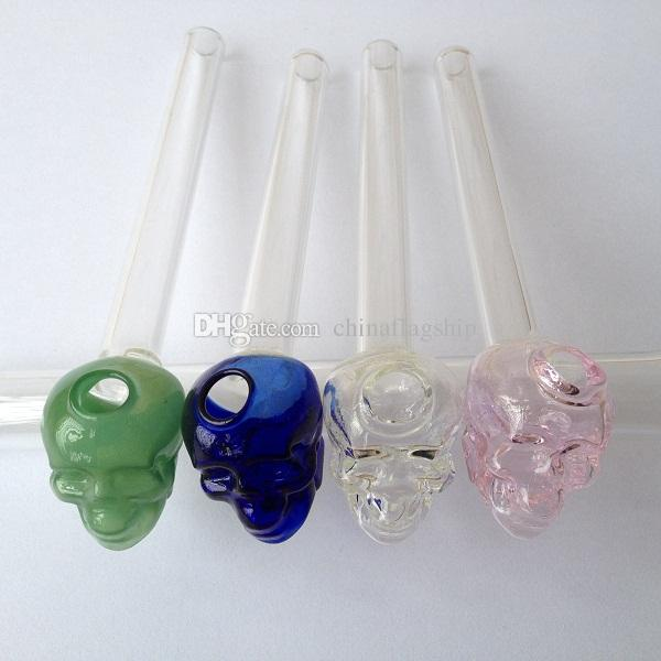 Factory price Colorful Pyrex Thick skull Glass Oil Burners Glass Tube Oil Burning Pipe Glass Pipe Oil Nail Glass Oil Pipe in stock