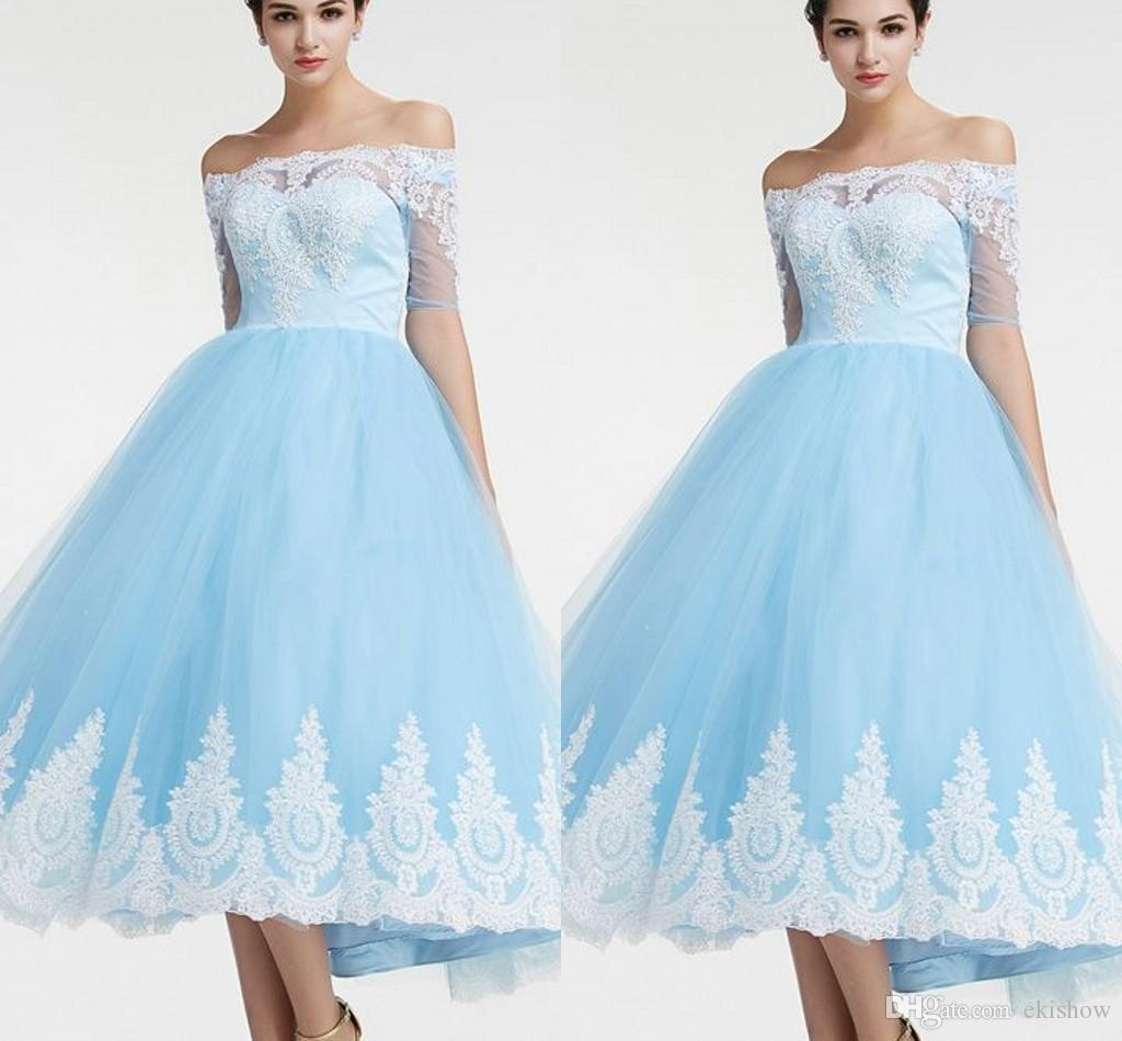 013467cbed8 Cheap Sky Blue Short Homecoming Dresses Half Sleeves Off The Shoulder Lace  Vintage 8th Grade Graduation Summer Homecoming Cocktail Dresses Homecoming  Dresse ...