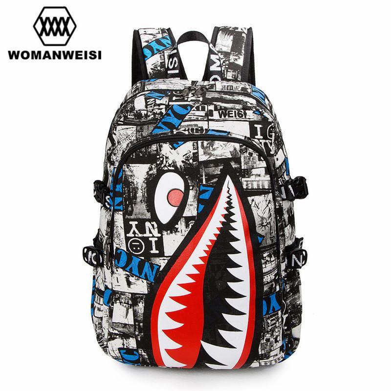 5829638b19b5 Wholesale- 2017 Vintage Graffiti Anime Shark Printing Backpack Brand  Designer Backpack For Teenage Boy Girl Women Men School Bags zaino