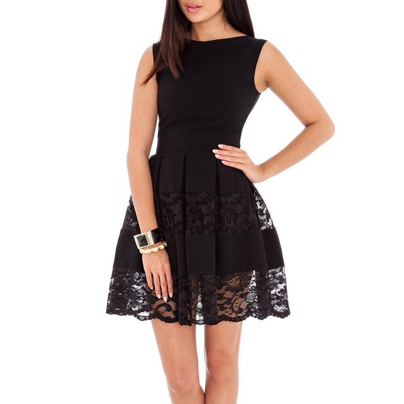 Black Princess Dress Summer Women Circle Lace Patchwork Bateau Neck. Boohoo  Alessia Low Cut Pleated Skater ... 2acca7349