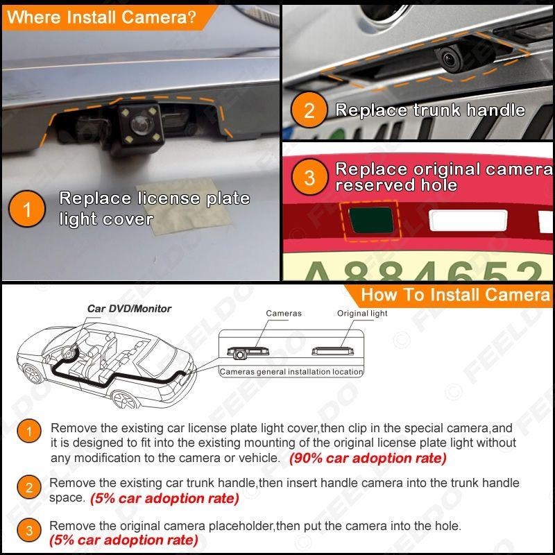 FEELDO Car Backup Rear View Camera With LED Light For Toyota Prado 2009 Parking Reverse Camera #1869