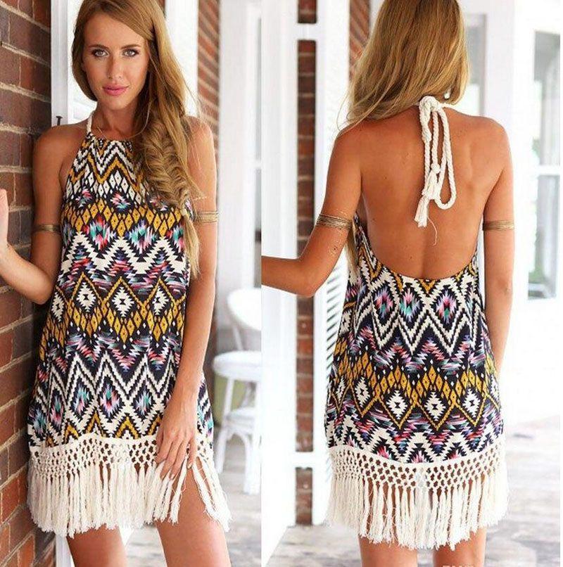 83691a78c76 New Fashion Ladies Beach Dresses Vestidos Femininos Boho Tribal Printed  Netted Fringe Tassel Women Dress Halter Summer Dress Nice Gift Clothing For  Black ...