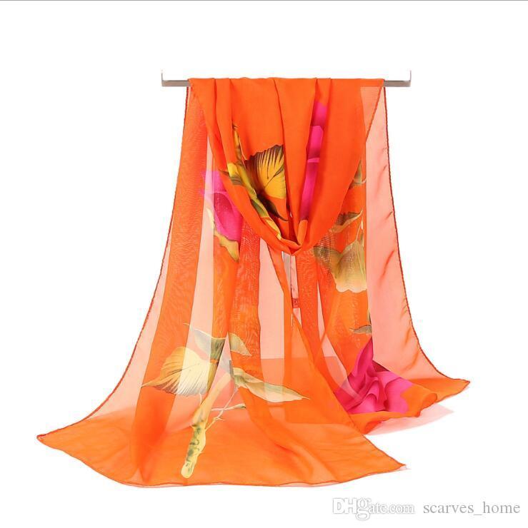2017 여자의 패션 쉬폰 스카프 봄 여름 새로운 로즈 인쇄 우아한 레이디 꽃 숄 스카프 실크 스카프 여자 160 * 50cm