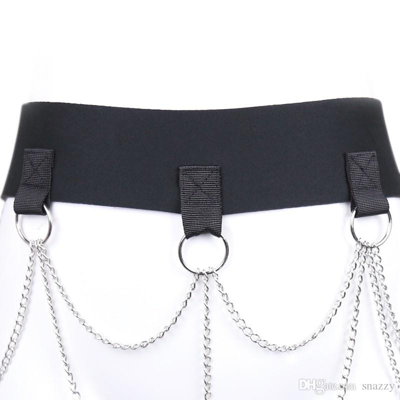 Women Metal Chain Halter Open Bust Teddy Steel Bondage Harness Costume Sexy Lingerie Sex Toys For Couple Sex Products Nightclub
