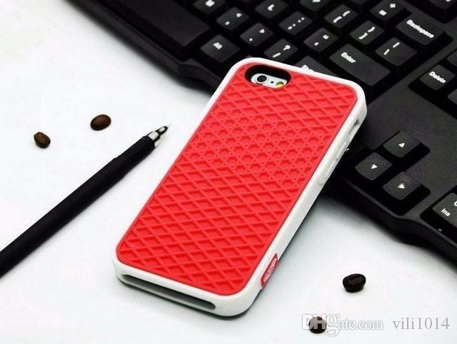Caoutchouc souple Chaussures en silicone Semelle Couverture pour IPhone 4 5s 5 Se 6 6s 7 Plus cas de téléphone Shell Square peau Protetive
