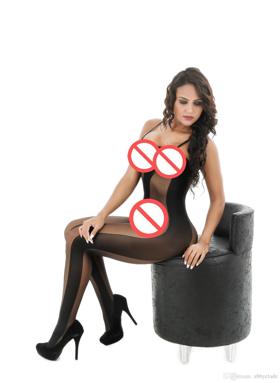 Siyah Açık Kasık Kapşonlu Çorap See Through Kadınlar Için Tam Bodysuit Seksi Bodystocking Sıkı Seksi Iç Çamaşırı Sıcak Teddies