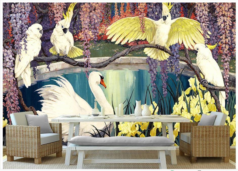 3D foto fondo de pantalla personalizado szie mural pared no tejida Pastoral retro tres loro pinturas al óleo pared mural 3D Mural fondo de pantalla envío gratis