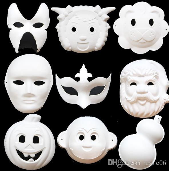 Bianco in bianco Masquerade maschera bambini adulti Mardi Gras di Natale di Halloween mezzanotte costume mezzo del fronte pieno del maschere cartone animato Animal Mask