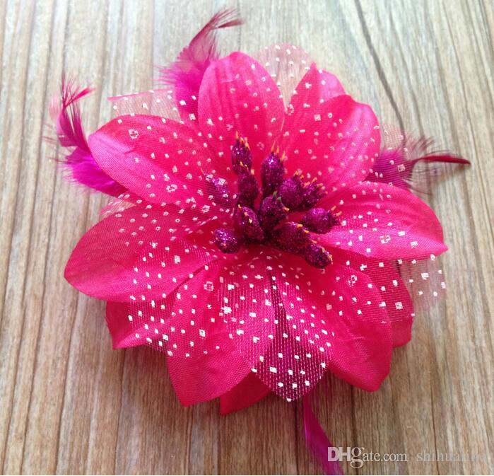 Fashion Dots plumes poitrine fleur enfants danse tête de plume ornements coréen tête fleur