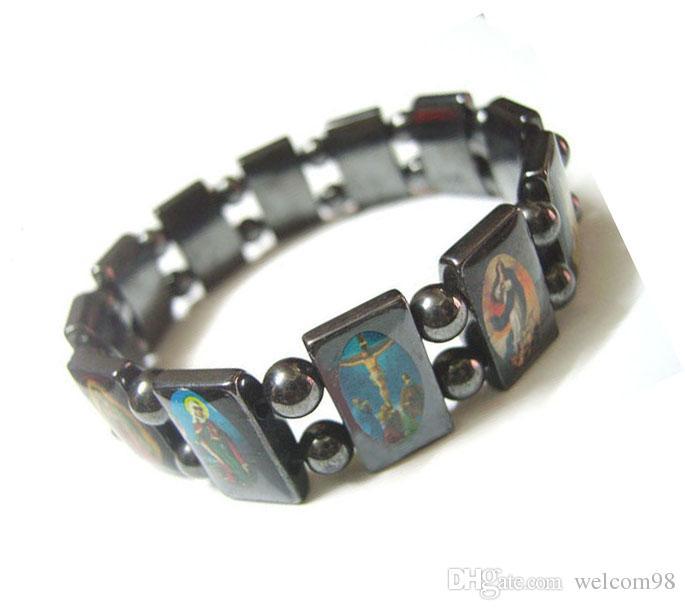 10st / Jesus Black Magnetic Healthy Bracelets Beaded Strands 8inch för DIY Craft Mode Smycken Present M23