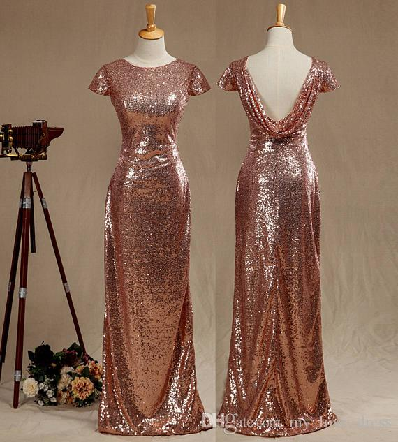 993b17d5188 2017 Real Pictures Rose Gold Sequined Bridesmaid Dress Cap Sleeves Luxury  Sequined Evening Dress Scoop Neck Metallic Sparkle Prom Dress Cowl Country  ...