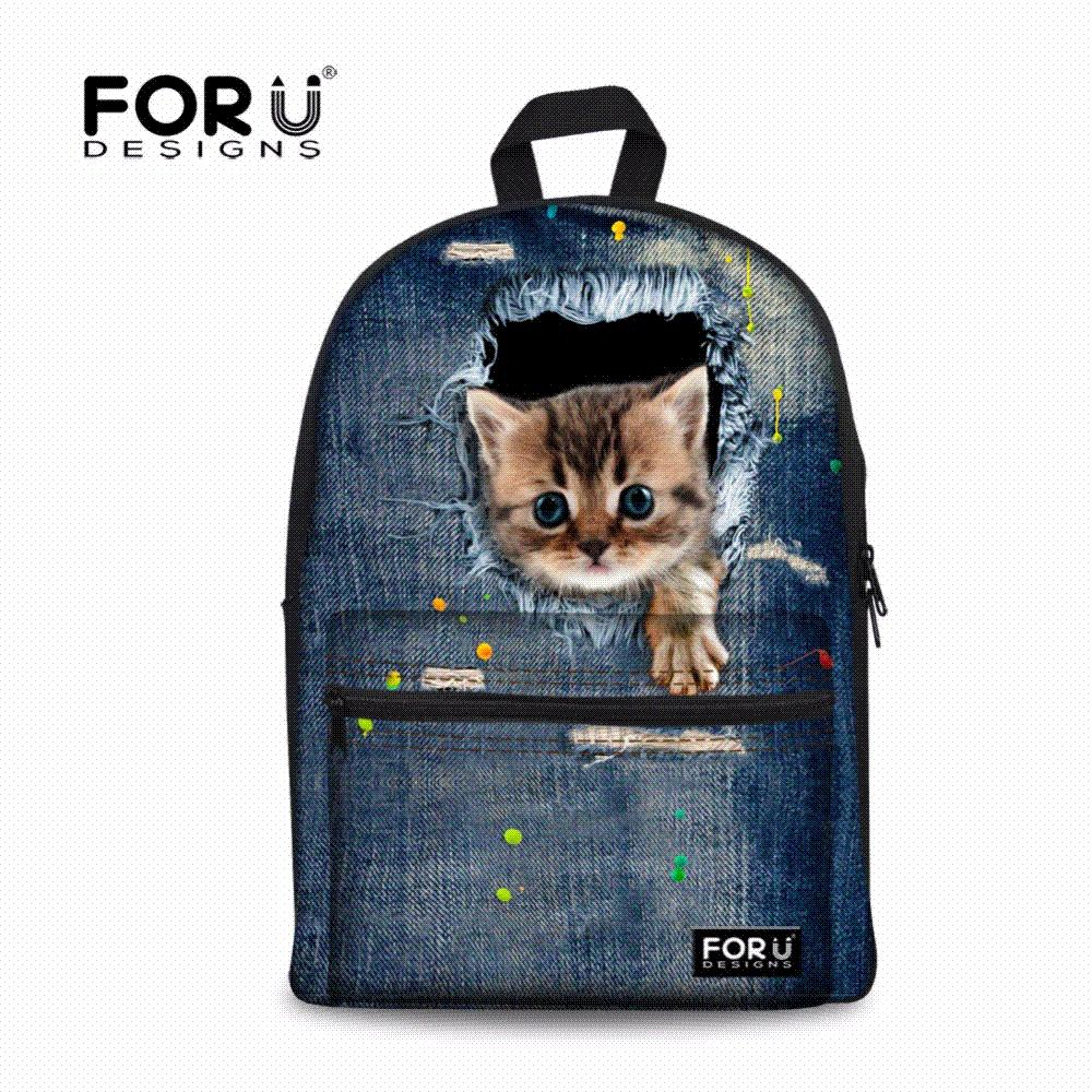 Cute Denim Cat School Bags For Teenage Girls Printing Children ...