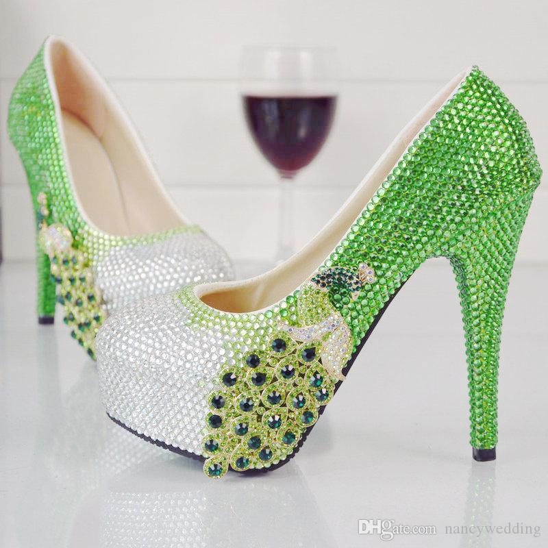 Luxurious Cinderella Prom Shoes Green With Silver Rhinestone Wedding ...