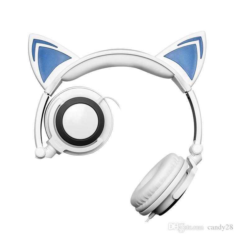 Cuffie auricolari Fashion Cat Pieghevoli lampeggianti Gaming Headset auricolare con luce a LED PC Laptop Computer Mobile Phone