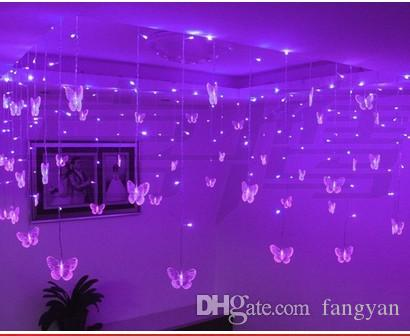 Butterfly LED String Curtain Lights for Festival Holiday Wedding 3.5*0.6m 100leds Christmas Garland