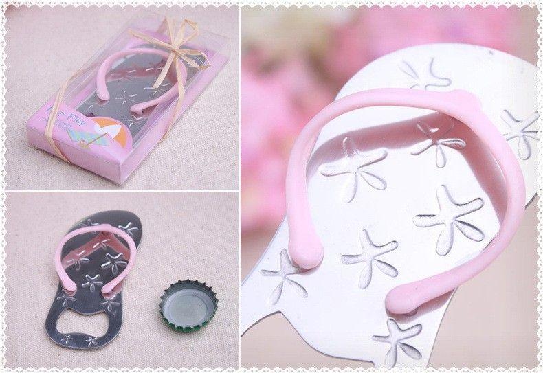 Flip flop wine bottle opener with starfish design wedding favor guest gift Wedding giveaways decoration blue pink