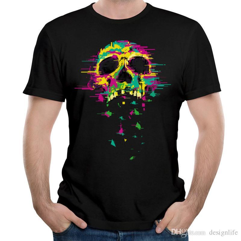 Bold Design Male T-shirt Neon Skull Print On Black Tops Short Sleeve Tee Shirt Mens O Neck T Shirts Pure Cotton Cloth Noise