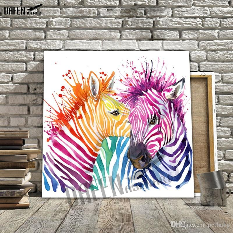 Happy Zebra 100% Handpainted Animal Oil Paintings Funny Cartoon Picture Paint Canvas Modern Wall Home Decoration