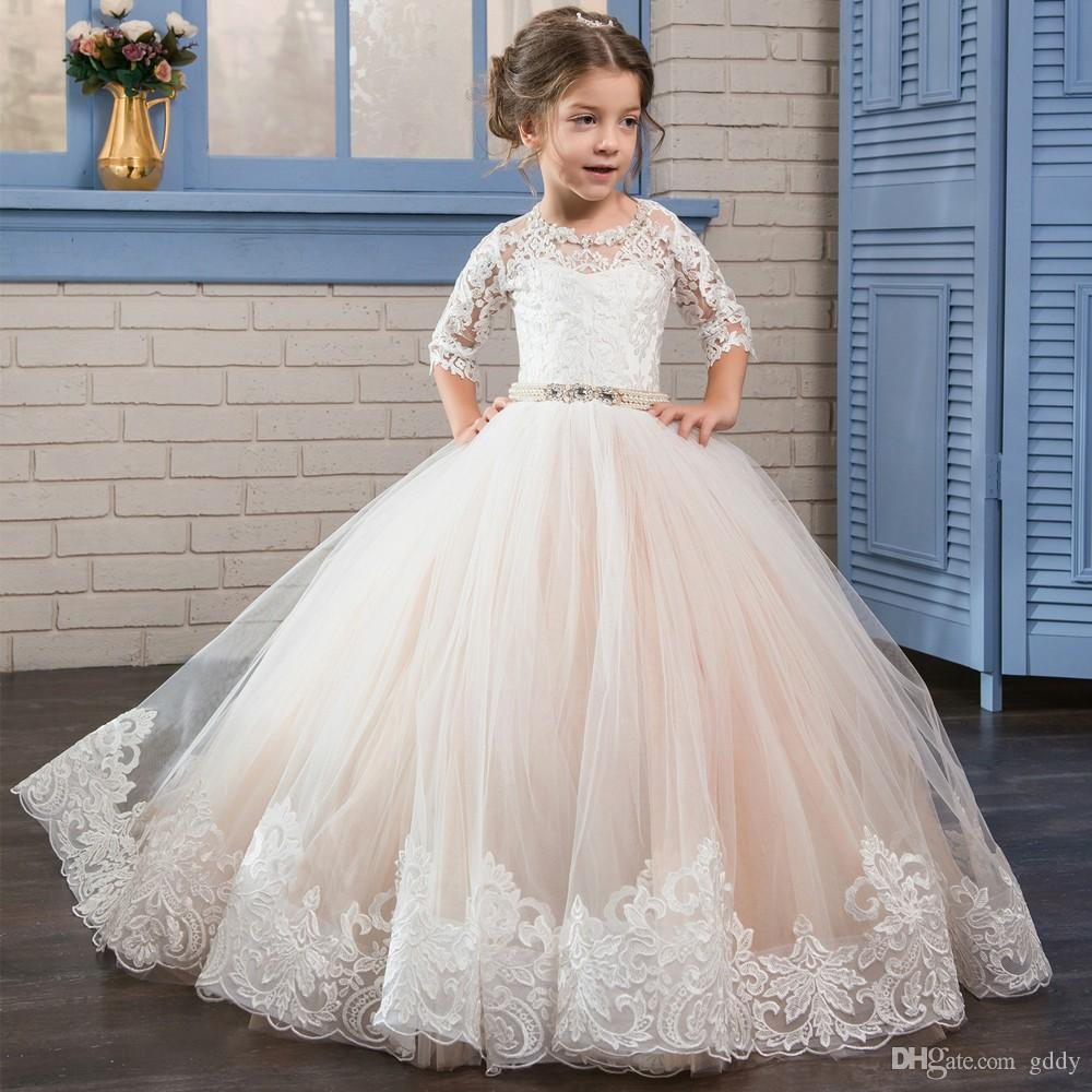 Arabic 2017 Vintage Lace Flower Girl Dresses Cheap Ball Gown Tulle ...