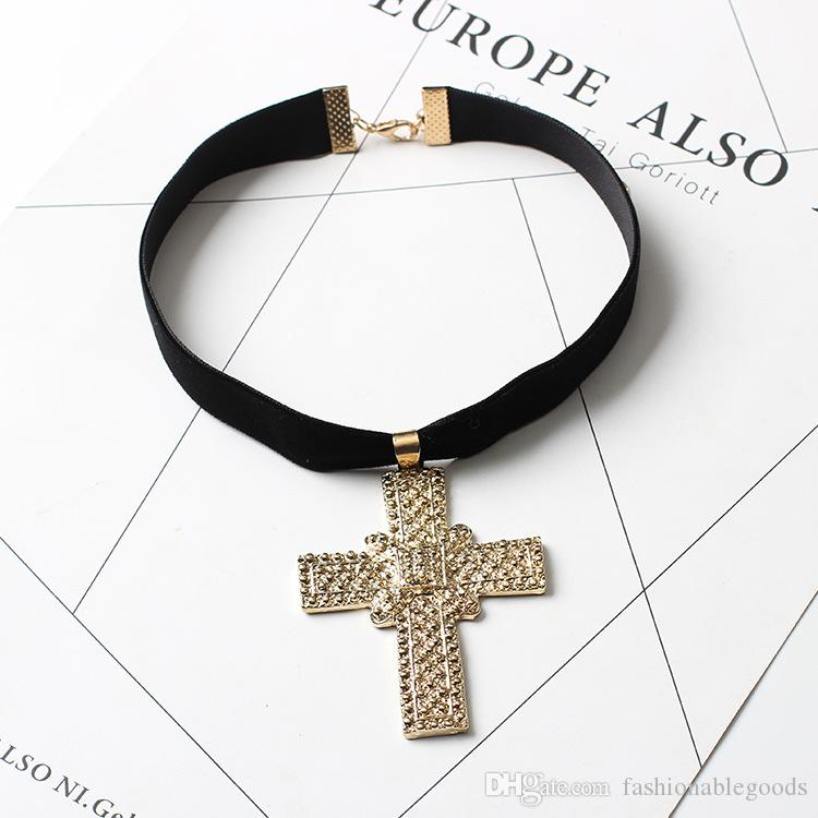 Pendants Necklaces Fashion Women High Quality Black Flocking Rope Gold Plated Chain Alloy Cross Chokers Jewelry
