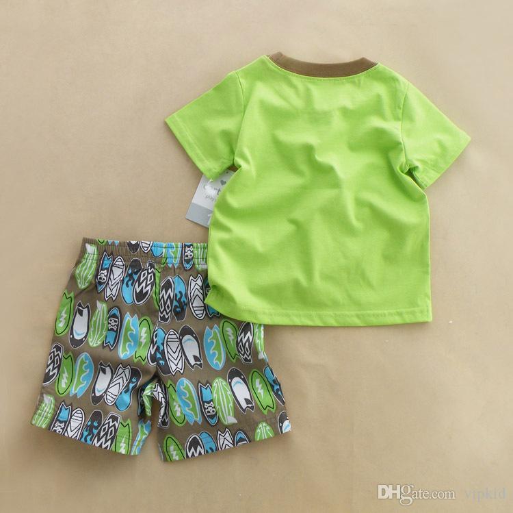 Yeni Avrupa ve Amerikan tarzı Bebek erkek kısa kollu şort iki parçalı kıyafet Çocuklar yaz suit Sıcak toplu karikatür bez