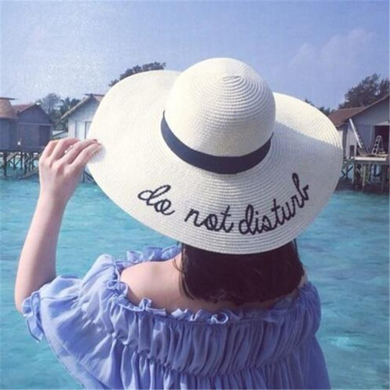 e82faa4df10 Summer Wide Brim Sun Hats For Women Beach Hats Letter Embroidery Straw Hats  Girls Do Not Disturb Outdoor Elegant Straw Lady Sun Hat Fishing Hats Funny  Hats ...