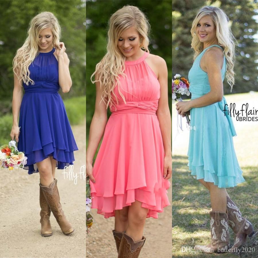 Compre Royal Blue / Pink Gasa Vestidos De Dama De Honor Cortos Más ...