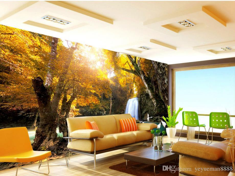 3d mural wallpaper waterfalls landscape tv wall customized for 3d nature wallpaper for living room