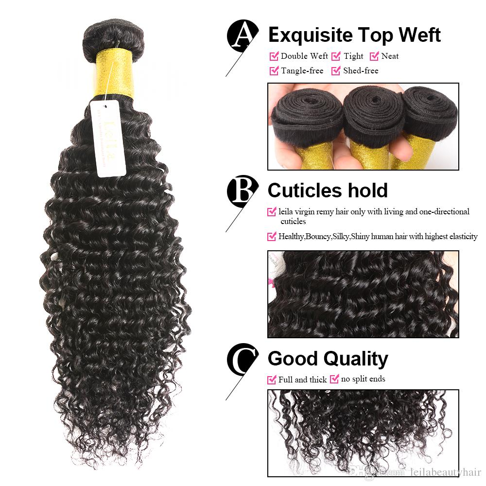 موجة عميقة عذراء الشعر / الكثير حزم مع الرباط إغلاق 100٪ غير المجهزة الإنسان اللحمة الشعر مجعد الشعر كامل