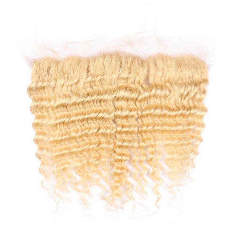 딥 웨이브 # 613 처녀 인간의 머리 레이스 정면 폐쇄 13x4 아기 머리 8-24inch 재고 금발 귀 귀 전체 레이스 정면